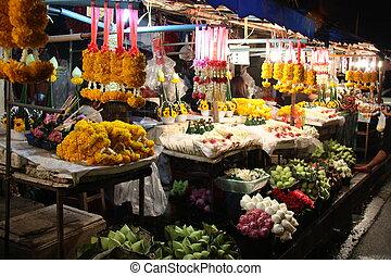 таиланд, цветок, рынок, ночь