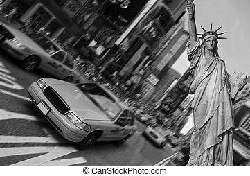 такси, квадрат, город, фокус, times, движение, йорк, пятно, новый