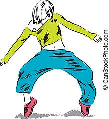 танцор, hip-hop, иллюстрация, танцы