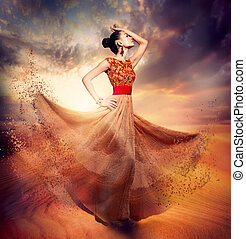 танцы, мода, женщина, носить, blowing, длинный, шифон,...