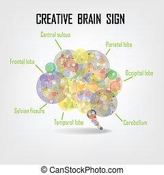 творческий, головной мозг, символ, знак, символ, and, образование, значок
