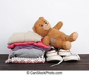 текстиль, кроссовки, таблица, одежда, стек, изношенный, деревянный, различный, folded
