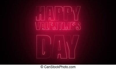 текст, счастливый, неон, день, valentine's