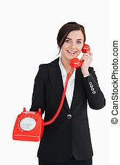 телефон, держа, старый, бизнес-леди, красный
