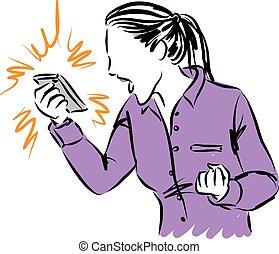 телефон, женщина, yelling, иллюстрация