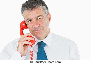 телефон, красный, бизнесмен