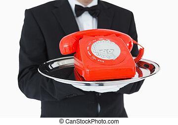 телефон, лоток, набирать номер, серебряный, красный