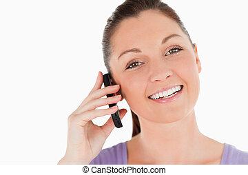 телефон, привлекательный, постоянный, портрет, в то время как, женщина