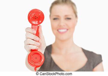 телефон, ретро, рука, женщина, красный