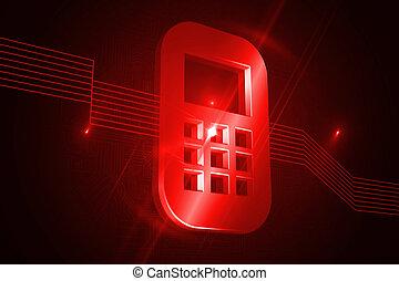 телефон, черный, блестящий, задний план, мобильный, красный