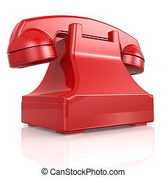 телефон, isolated, красный