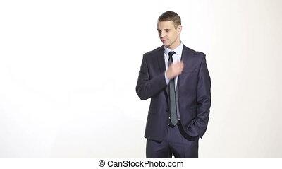 тело, ear., бизнес, background., натирание, language., isolated, scratching, distrust, оратор, костюм, белый, жест, человек