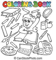 тема, 1, школа, coloring, книга