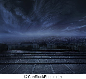 темно, clouds, над, городской, задний план