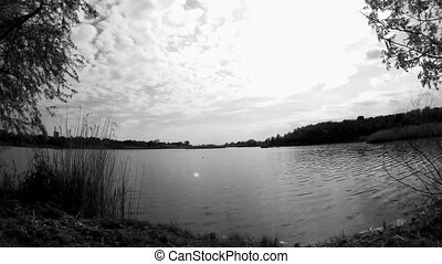 темно, timelapse, озеро