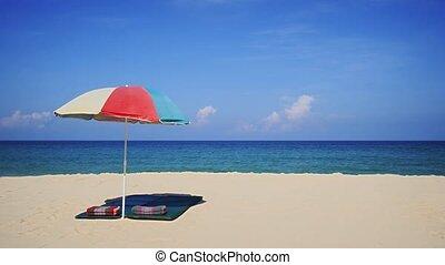 тень, красочный, зонтик, тропический, рай, пляж, предложения