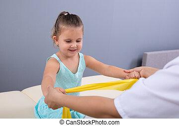терапия, группа, девушка, физическая, немного, клиника, exercising