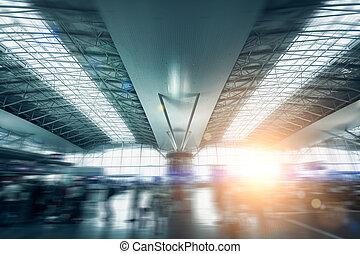 терминал, солнце, современное, освещенный, аэропорт, легкий,...