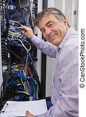 техник, сервер, улыбается, checking