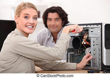 техник, фиксация, компьютер, счастливый