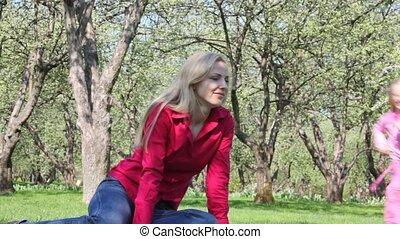 трава, девушка, игры, мама