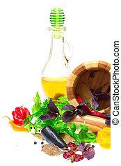трава, leaves, of, петрушка, бухта, leaves, and, peppercorns, перец, в, строительный раствор