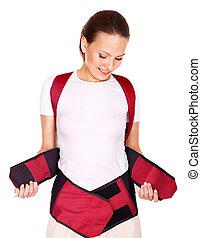 травма, of, back., корсет, для, posture.