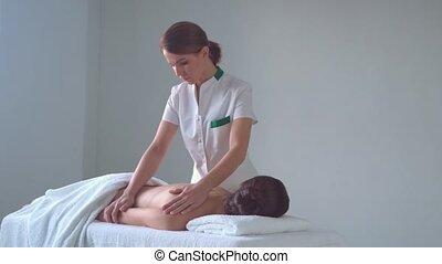 традиционный, женщина, spa., massaging, молодой, остеопатия,...