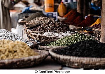 традиционный, марокко, рынок