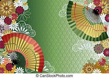 традиционный, шаблон, японский