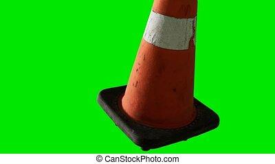 трафик, задний план, chromakey, оранжевый, зеленый, конус, ...