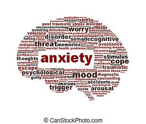 тревога, умственный, здоровье, символ, isolated, на, белый