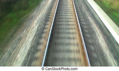 трек, закрыть, железная дорога, посмотреть