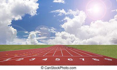 трек, track., начало, бег, линия, красный