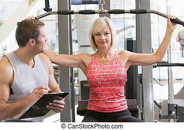 тренер, женщина, вес, наблюдение, личный, поезд