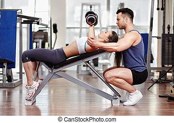 тренер, личный, гимнастический зал, женщина, помощь