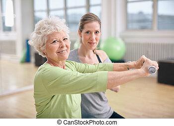 тренер, личный, обучение, гимнастический зал, фитнес