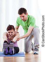 тренер, помощь, женщина, в, exercises