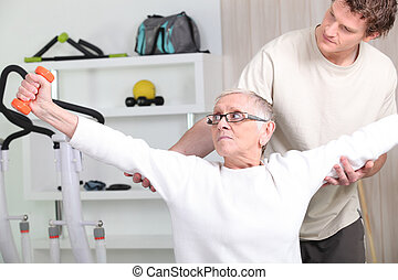 , тренер, помощь, , старшая, женщина, дела, фитнес