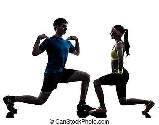тренер, разрабатывать, exercising, женщина, фитнес, человек