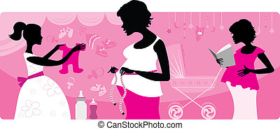 три, беременная, женщины