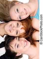 три, веселая, женщины