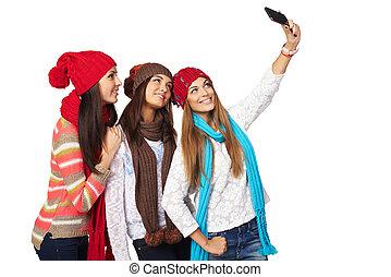 три, женщины, изготовление, selfie
