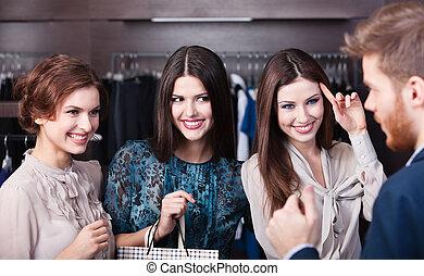 три, замечательно, женщины, говорить, with, продавец