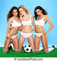 три, красивая, спортивное, женщины, в, дамское белье
