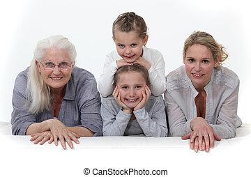 три, поколения, of, women.