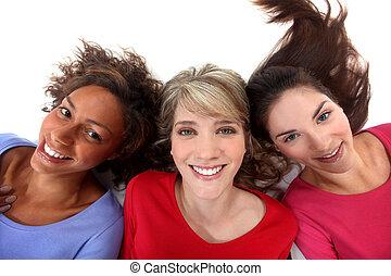три, положительный, женщины, with, heads, вниз