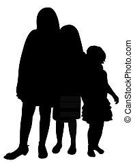 три, sisters, вместе, силуэт