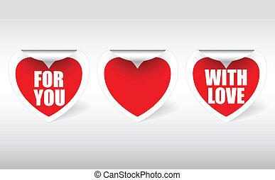 три, stickers, в, , форма, of, заслушивать
