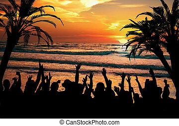 тропический, вечеринка, пляж